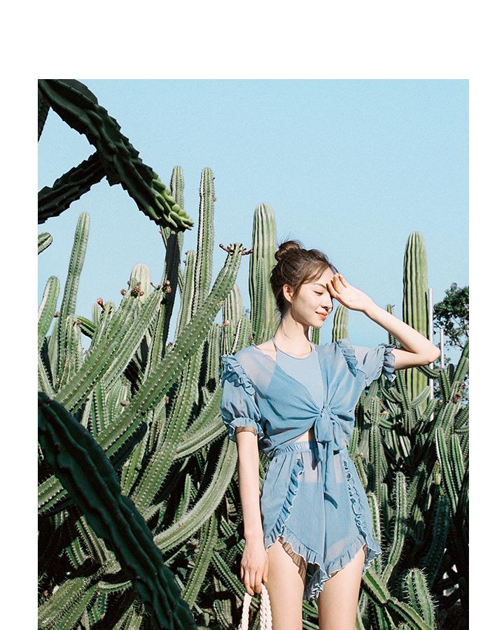 여성 상하의 커버업 몸매보정 블루 홀터넥 수영복 비키니 세트 4 pcs - 리빙잇템, 42,000원, 여성비치웨어, 비키니
